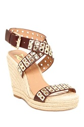 Vc Signature Dacia Wedge Leather Sandal Beige