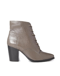 Faith Seoul Grey Leather Lace Up Boots