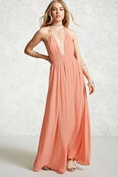 Forever 21 Contemporary Smocked Maxi Dress Salmon