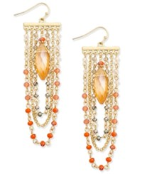 Inc International Concepts Gold Tone Multi Bead Chain Chandelier Earrings Only At Macy's