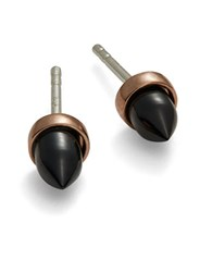 Bing Bang Bullet Spike Stud Earrings Black