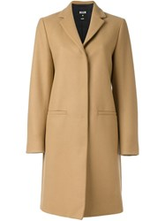 Msgm Single Breasted Coat Nude And Neutrals