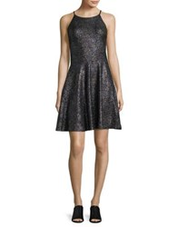 Design Lab Lord And Taylor Metallic Halter Fit Flare Dress Grey Black
