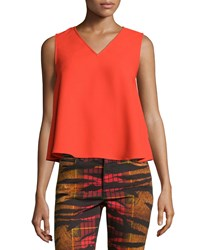 Mcq By Alexander Mcqueen Volume Sleeveless V Neck Top Red