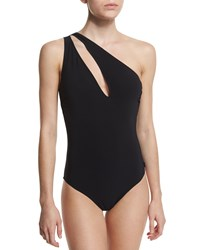 Shan One Shoulder Slash Solid One Piece Swimsuit Women's Caviar