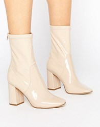 New Look Patent Heeled Ankle Boot Oatmeal Beige