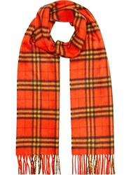 Burberry The Classic Vintage Check Cashmere Scarf Yellow And Orange