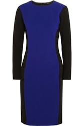 Raoul Eva Leather Trimmed Ponte And Stretch Crepe Dress Blue