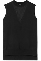 Adam By Adam Lippes Lace Paneled Merino Wool Top Black