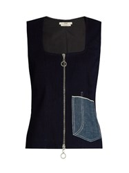Edun Patch Pocket Sleeveless Denim Top Blue