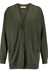 Sandro Girl Oversized Wool And Cashmere Blend Cardigan Army Green