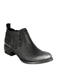 Naughty Monkey Miss M Nailhead Leather Booties Black