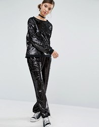 Daisy Street Wide Leg Trousers In Sequin Black