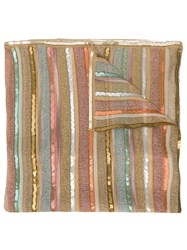 Missoni Striped Knitted Scarf Neutrals