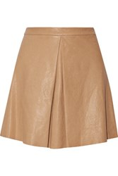 Alice Olivia Russo Pleated Leather Mini Skirt Tan