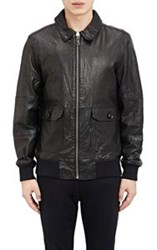 Barneys New York Leather Zip Front Jacket Black