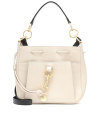 See By Chloe Tony Small Leather Bucket Bag Beige