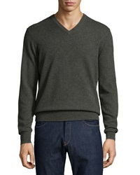 Neiman Marcus Cashmere V Neck Sweater Green