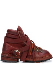 Guidi Lace Up Ankle Boots Red
