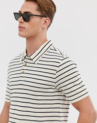 Hymn Striped Polo Shirt Navy