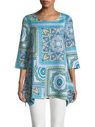 Context Mandala Border Sharkbite Tunic Blue Caribbean