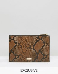 Skinnydip Exclusive Zip Top Pouch Bag In Ombre Faux Snake Brown