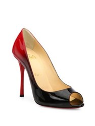 Christian Louboutin Ombre Patent Leather Peep Toe Pumps Black Red