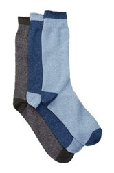 Lucky Brand Marled Tip Toe Heel Crew Cut Socks Pack Of 3 Blue