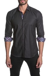 Jared Lang Long Sleeve Contrast Trim Semi Fitted Shirt Black