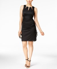 Betsy And Adam B A By Embellished Ruffled Sheath Dress Black