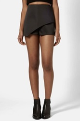 Topshop Asymmetrical Satin Skort Black