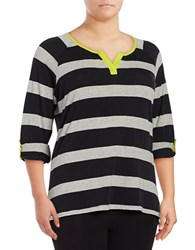 Marc New York Striped Cotton Blend Tee Acidic Lemon
