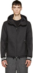 Giuliano Fujiwara Grey Wool Hooded Jacket