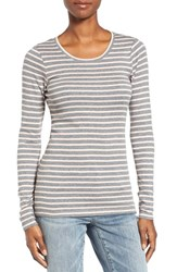 Caslonr Women's Caslon Long Sleeve Scoop Neck Cotton Tee Heather Grey Pink Stripe