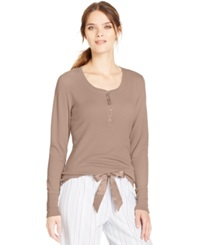 Alfani Long Sleeve Thermal Top Taupe