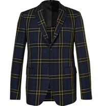 Joseph Navy Hanford Prince Of Wales Checked Cotton Twill Suit Jacket Navy