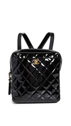 Wgaca What Goes Around Comes Around Chanel Black Patent Quilted Backpack