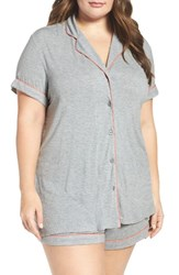 Nordstrom Plus Size Women's Lingerie 'Moonlight' Short Pajamas Grey Steel Heather