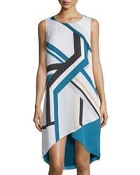 Laundry By Shelli Segal Sleeveless Printed High Low Shift Dress Moroccan Blue
