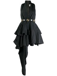 Fausto Puglisi Belted Asymmetric Dress Black