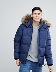 River Island Puffer Jacket With Faux Fur Hood In Blue
