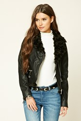 Forever 21 Faux Fur Moto Jacket Black