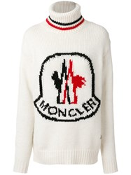 Moncler Gamme Rouge Logo Patch Roll Neck Sweater Polyamide Cashmere Wool Alpaca White