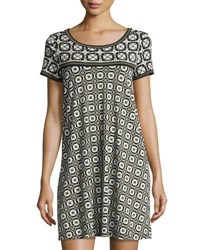 Max Studio Geometric Print T Shirt Dress Blk Ivy