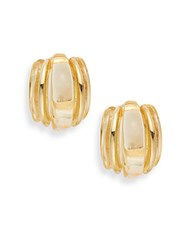 Kenneth Jay Lane Couture Collection Banded Clip On Earrings Gold