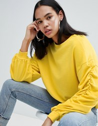 Weekday Gathered Sleeve Sweatshirt In Yellow Melange Yellow Melange