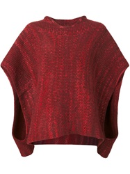 The Elder Statesman Hooded Cape Sweater Red
