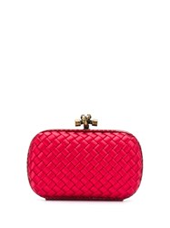 Bottega Veneta Knot Clutch Bag Red