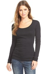 Women's Caslon 'Melody' Long Sleeve Scoop Neck Tee Black