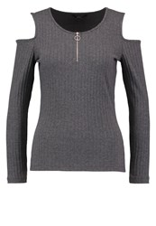 Only Onlpoppy Long Sleeved Top Dark Grey Melange Mottled Dark Grey